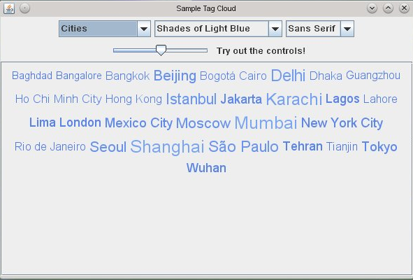 Screenshot of TagCloud demo code